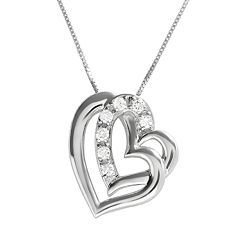 DiamonLuxe Sterling Silver .28-ct. T.W. Simulated Diamond Heart Pendant