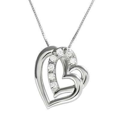 Sterling Silver 0.28-ct. T.W. DiamonLuxe Heart Pendant