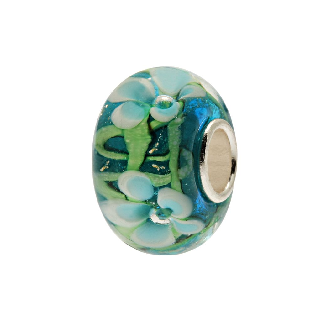 Individuality Beads Sterling Silver Floral Glass Bead