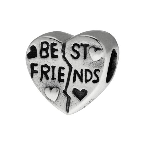 "Individuality Beads Sterling Silver ""Best Friends"" Heart Bead"