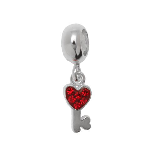 Individuality Beads Sterling Silver Crystal Key Charm Bead