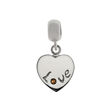 Individuality Beads Sterling Silver Crystal Heart Charm Bead