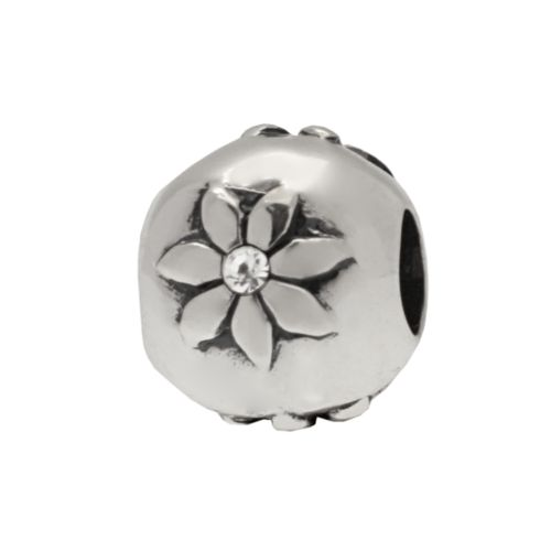 Individuality Beads Sterling Silver Cubic Zirconia Floral Bead