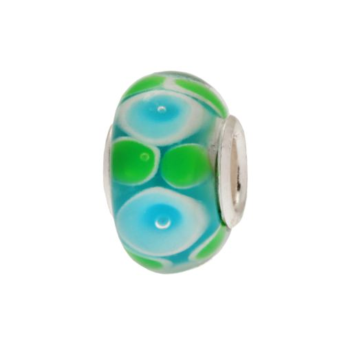 Individuality Beads Sterling Silver Abstract Floral Glass Bead