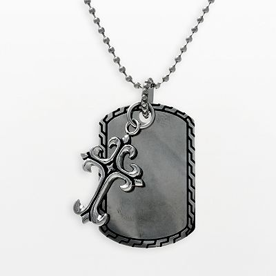 Sanctify Stainless Steel Cross Dog Tag - Men