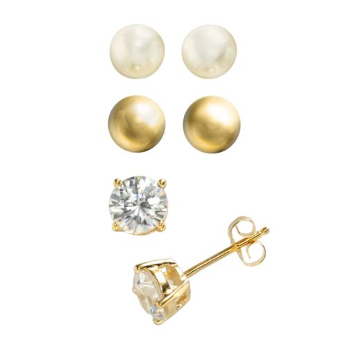 24k Gold Over Silver Cubic Zirconia and Freshwater Cultured Pearl Stud Earring Set