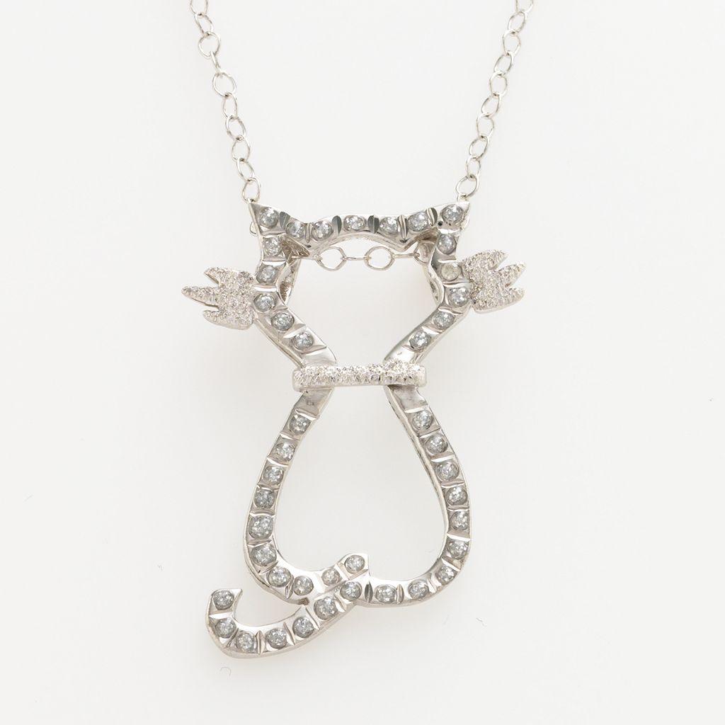 Diamond Mystique™ Platinum Over Silver Diamond Accent Cat Pendant