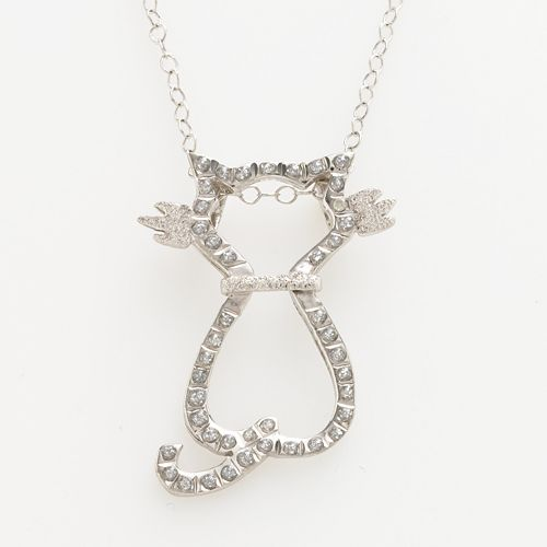Diamond Mystique™ Platinum Over Silver Diamond Accent Cat Pendant