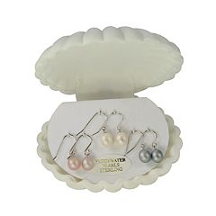 Sterling Silver Dyed Freshwater Cultured Pearl Drop Earring Set