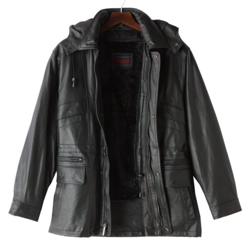 Excelled Hooded Leather Parka - Big and Tall