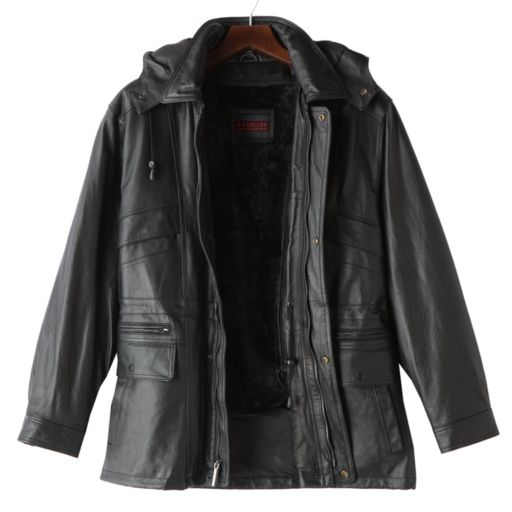 Big & Tall Excelled Hooded Leather Parka
