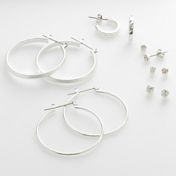SO® Silver-Tone Hoop & Stud Earring Set
