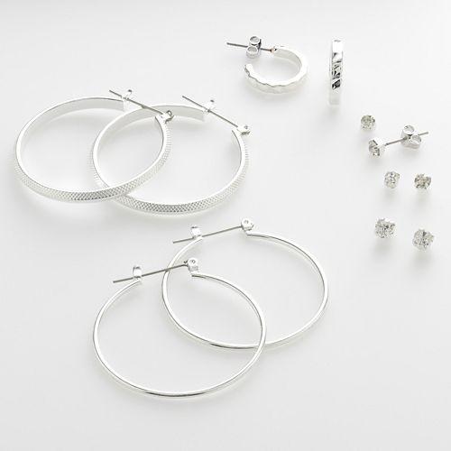 Mudd® Silver-Tone Hoop & Stud Earring Set