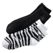 Earth Therapeutics 2-pk. Zebra & Solid Aloe Socks