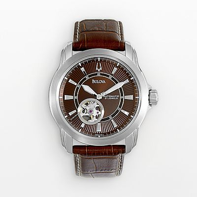 Bulova Stainless Steel Automatic Leather Skeleton Watch - Men