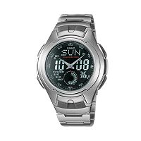 Casio Men's Illuminator Sport Stainless Steel Analog & Digital Chronograph Watch - AQ160WD-1BV