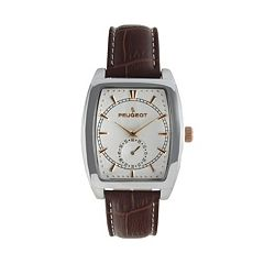 Peugeot Silver Tone Leather Watch - 2027 - Men