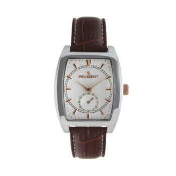 Peugeot Silver Tone Leather Watch - 2027 - Men