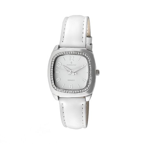 Peugeot Silver-Tone Crystal Leather Watch - Made with Swarovski Crystals - Women