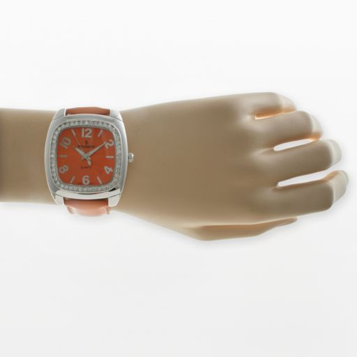 Peugeot Silver-Tone Crystal Leather Watch - Women