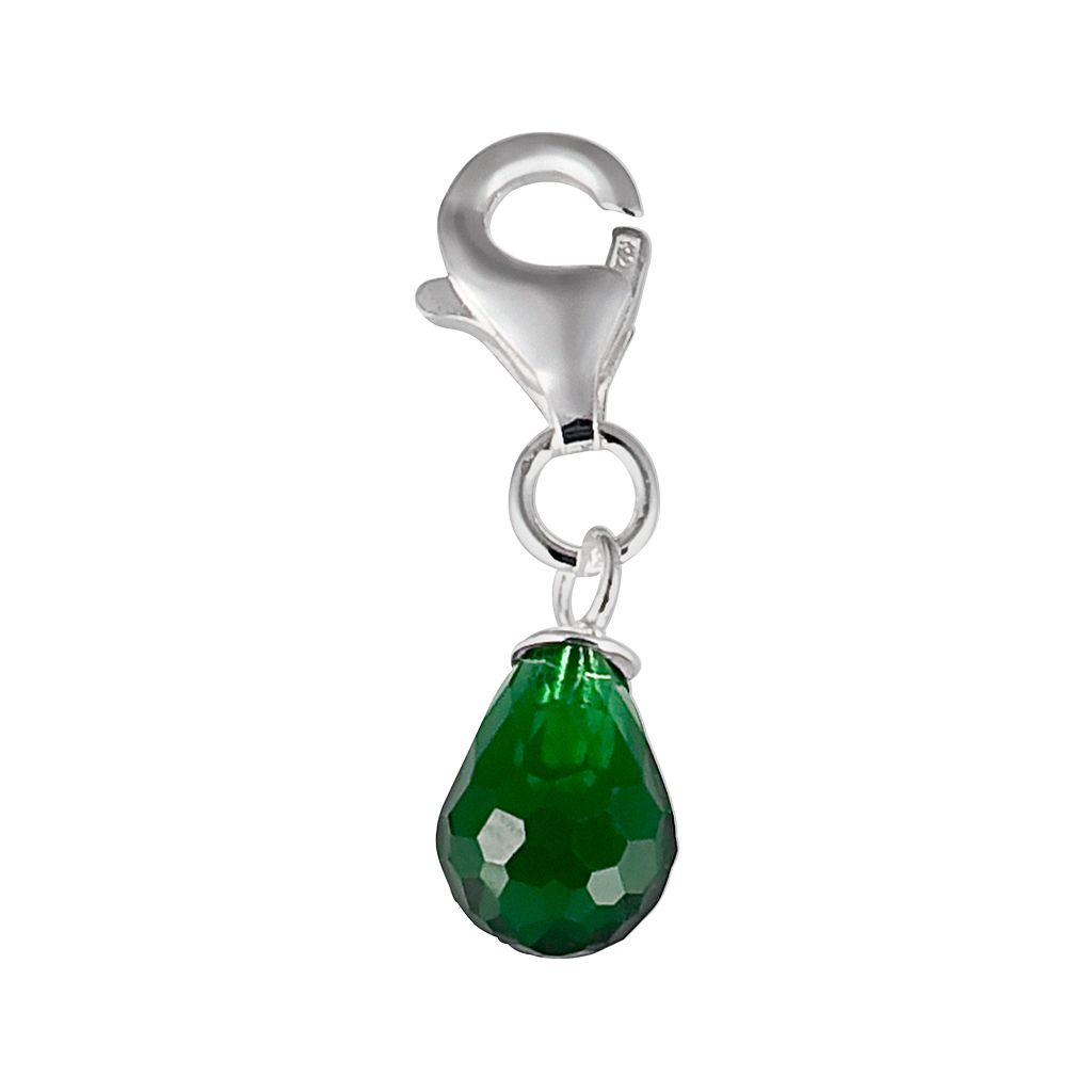 Personal Charm Sterling Silver Simulated Birthstone Teardrop Charm