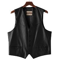 Big & Tall Excelled Button-Front Leather Vest
