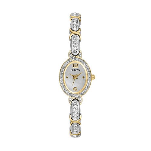 Bulova Women's Crystal Two Tone Watch - 98L005K