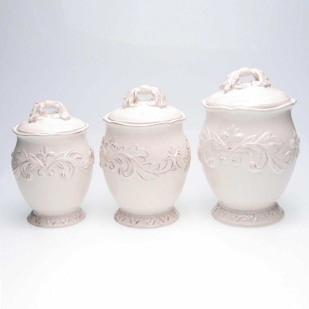 international firenze 3 pc ivory kitchen canister set