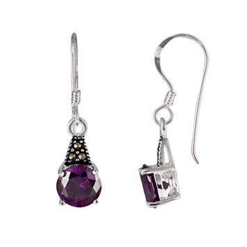 Sterling Silver Cubic Zirconia and Marcasite Drop Earrings