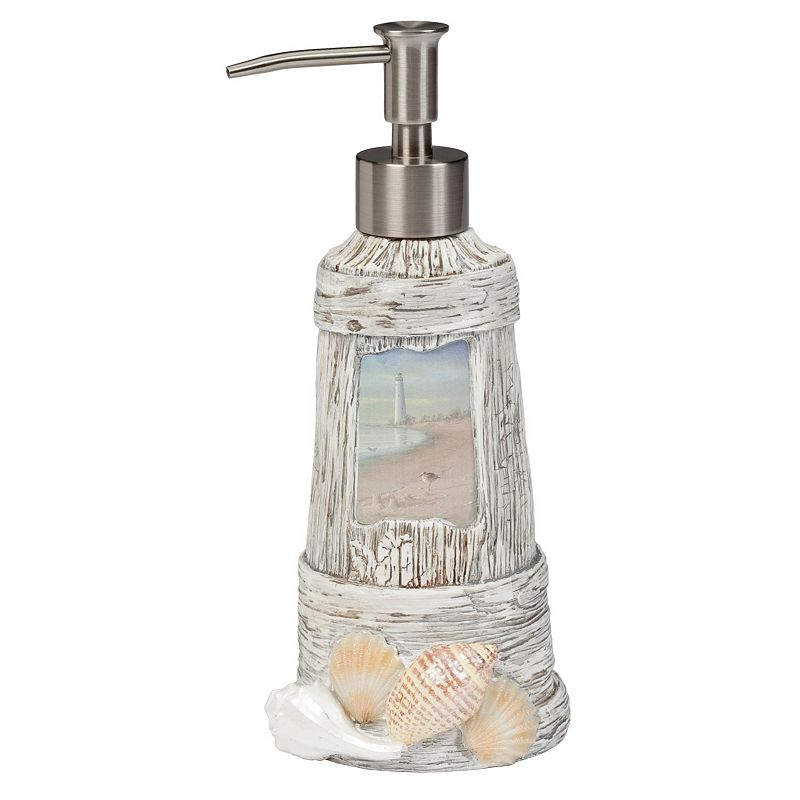 Creative bath at the beach lotion pump for Bathroom decor lighthouse