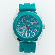 tOcs Silver Tone Simulated Crystal Teal Watch - Women