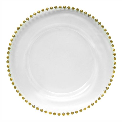 Delish Gold Beaded Charger Plate