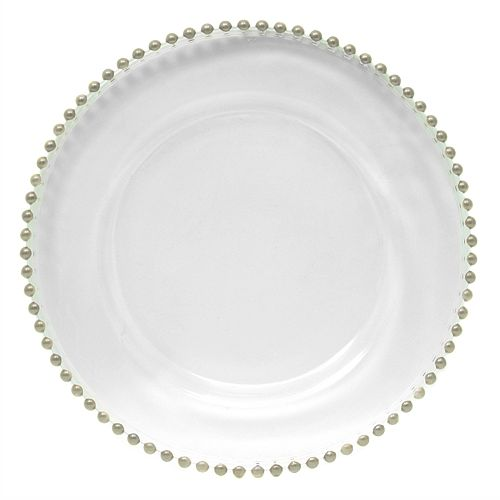 Delish Silver Beaded Charger Plate