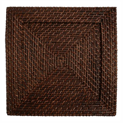 Charge It 4-pc. Square Rattan Charger Plate Set