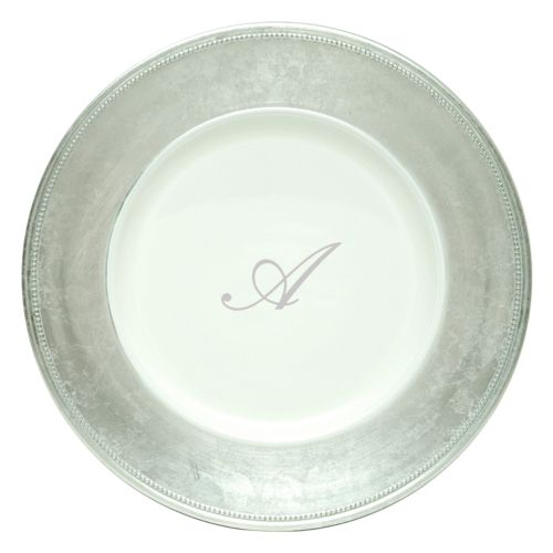 Charge It 4-pc. Silver Monogrammed Charger Plate Set
