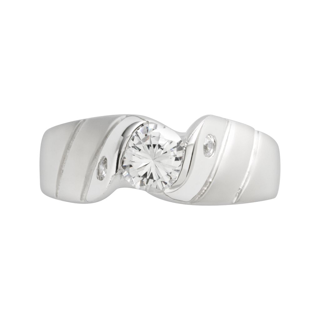 Sterling Silver Cubic Zirconia Twist Ring