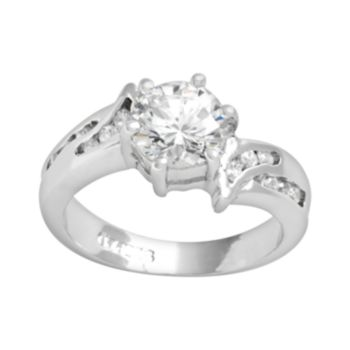 Sterling Silver Cubic Zirconia Bypass Ring