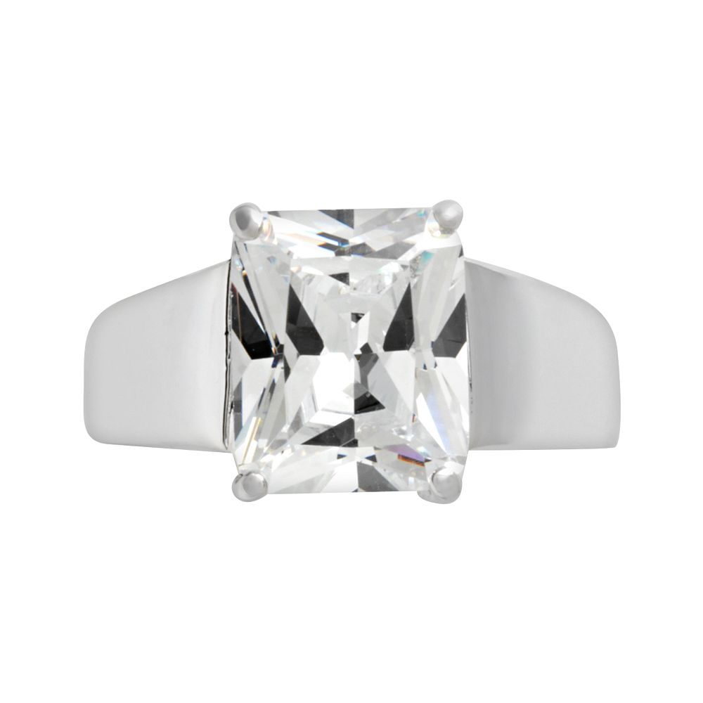Sterling Silver Princess-Cut Cubic Zirconia Ring