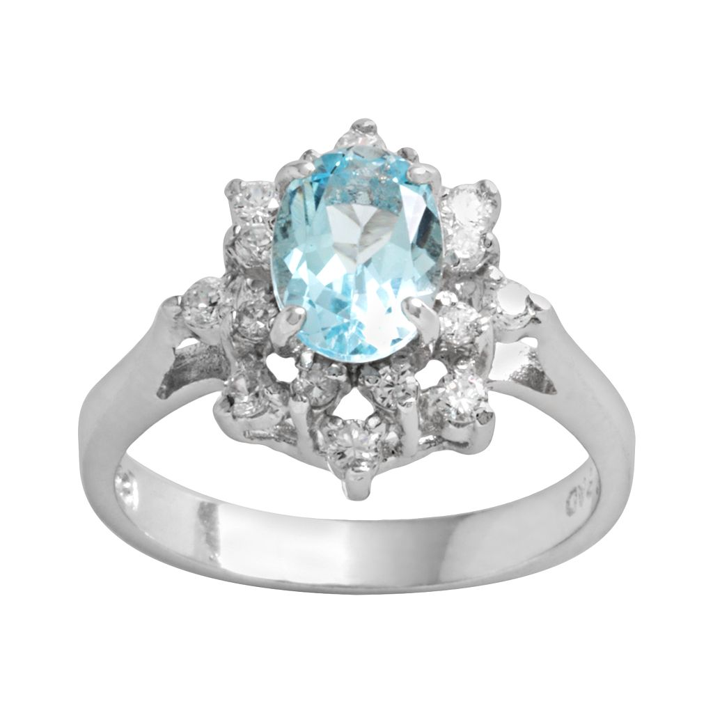 Sterling Silver Blue Topaz & Cubic Zirconia Floral Ring