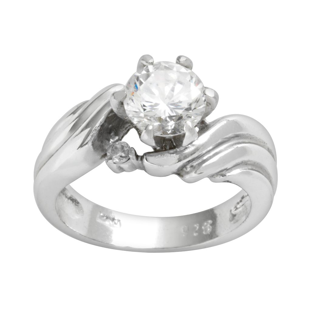 Sterling Silver Cubic Zirconia Swirl Ring