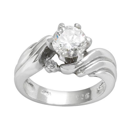 Sterling Silver Cubic Zirconia Swirl Ring