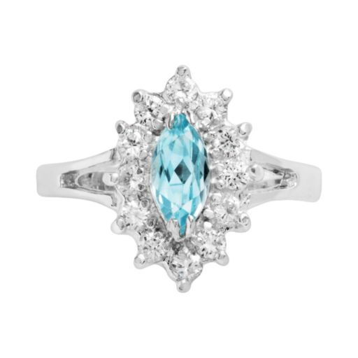 Sterling Silver Blue Topaz and Cubic Zirconia Floral Ring