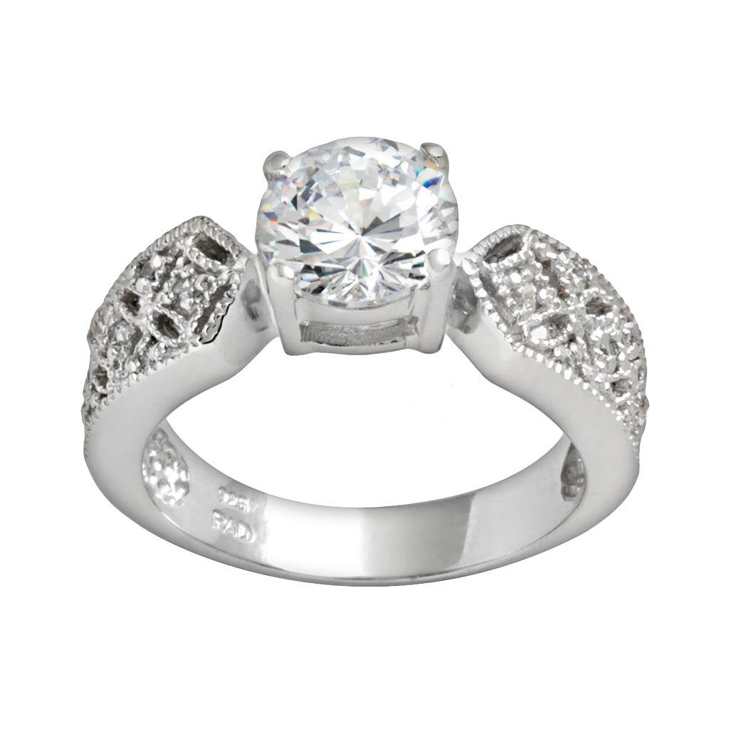Sterling Silver Cubic Zirconia Filigree Ring