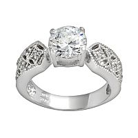 Sterling Silver Cubic Zirconia Filigree Ring