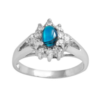 Sterling Silver Paua Shell and Cubic Zirconia Ring