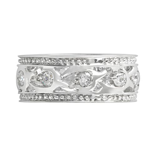 Sterling Silver Cubic Zirconia Roman Ring