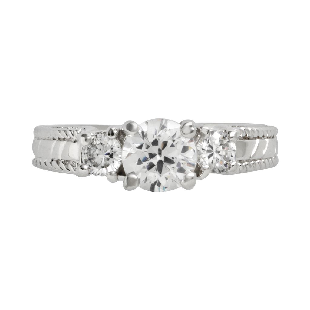 Sterling Silver Cubic Zirconia 3-Stone Ring