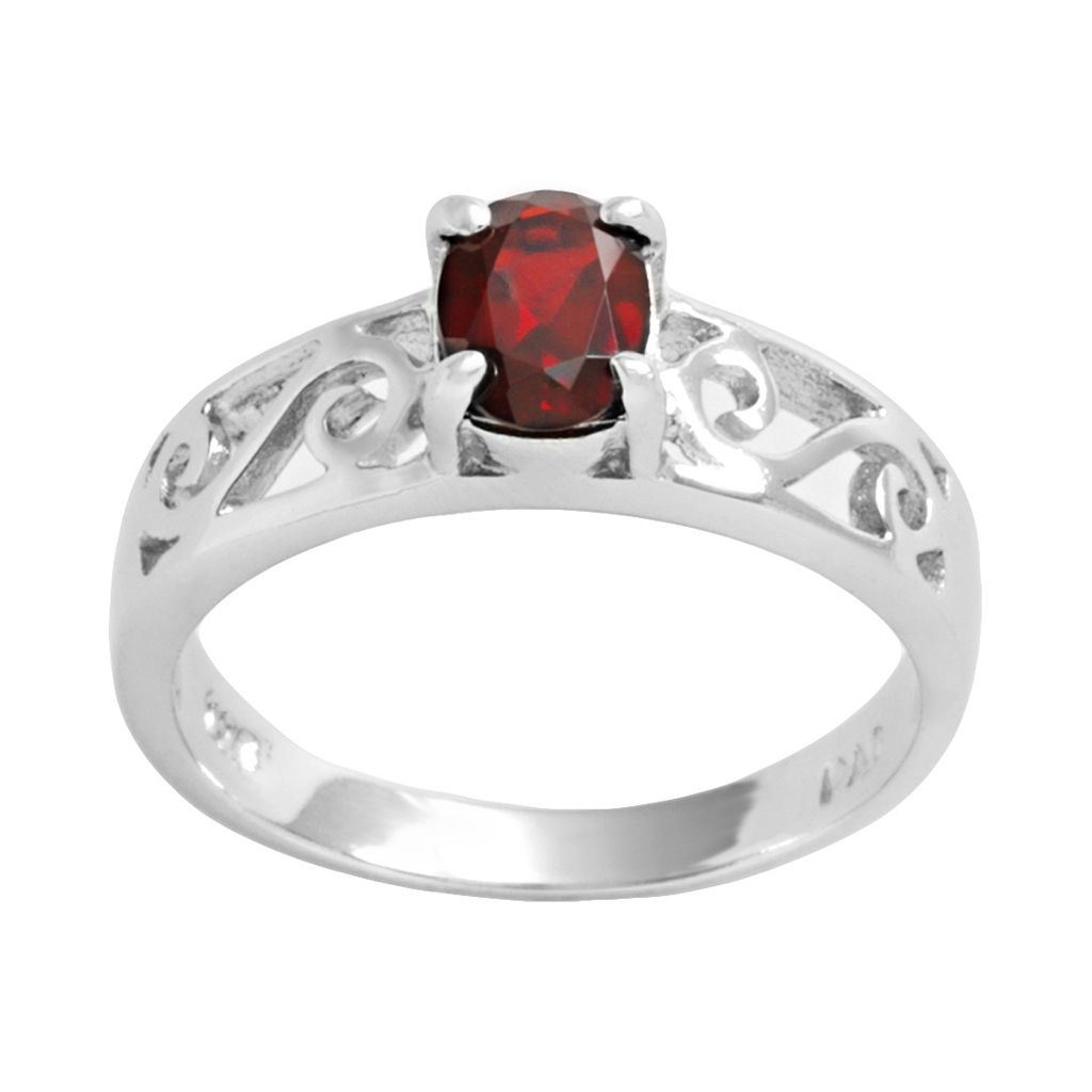 Sterling Silver Garnet Filigree Ring