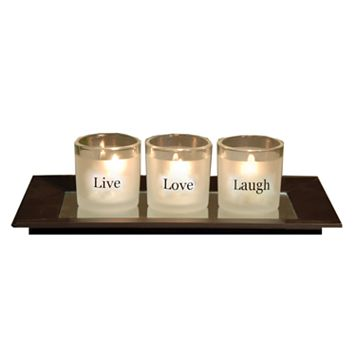 San Miguel Sentiments 4-pc. Sweet Pea Votive Candle and Mirror Tray Set