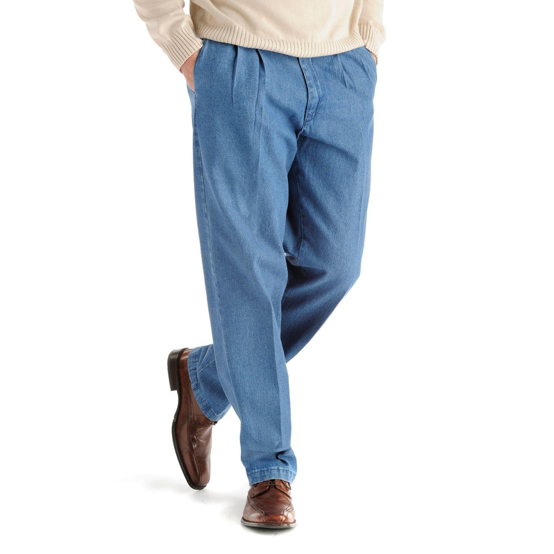 Mens Pleated Denim Pants WwGo0B1b